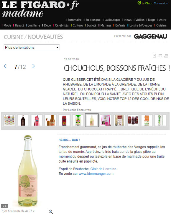Le jus de rhubarbe dans Figaro Madame